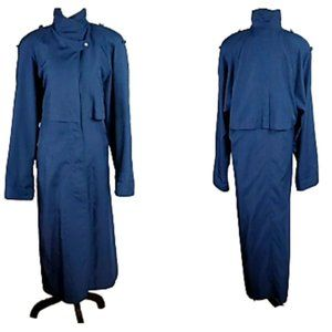 J GALLERY LONG NAVY BLUE TRENCH COAT EUC!!! 11/12